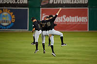 West Virginia Black Bears outfielders Brett Kinneman (5), Will Matthiessen (59), and Luke Mangieri  (17) celebrate after a NY-Penn League game against the Batavia Muckdogs on June 27, 2019 at Dwyer Stadium in Batavia, New York.  West Virginia defeated Batavia 6-5 in ten innings.  (Mike Janes/Four Seam Images)