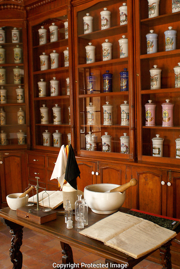 La Botica, replica of 18th century apothecary shop, Museo Historico de San Miguel de Allende, Mexico. San Miguel de Allende is a UNESCO World Heritage Site..