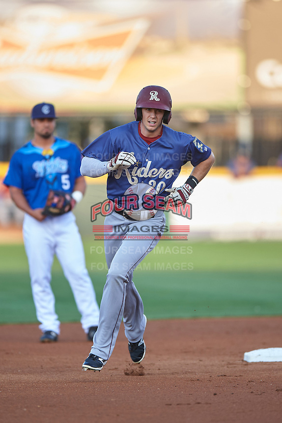 Frisco RoughRiders center fielder Ryan Cordell (20) runs the bases after hitting a home run during a game against the Corpus Christi Hooks on April 23, 2016 at Whataburger Field in Corpus Christi, Texas.  Corpus Christi defeated Frisco 3-2.  (Mike Janes/Four Seam Images)