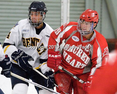 Mike Switzer (Bentley - 4), Patrick Knowlton (Sacred Heart - 19) - The Bentley University Falcons defeated the visiting Sacred Heart University Pioneers 6-2 in their home opener at John A. Ryan Skating Center in Watertown, Massachusetts.