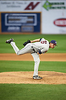 Mahoning Valley Scrappers relief pitcher Riley Echols (35) follows through on a pitch during a game against the Williamsport Crosscutters on July 8, 2017 at BB&T Ballpark at Historic Bowman Field in Williamsport, Pennsylvania.  Williamsport defeated Mahoning Valley 6-1.  (Mike Janes/Four Seam Images)