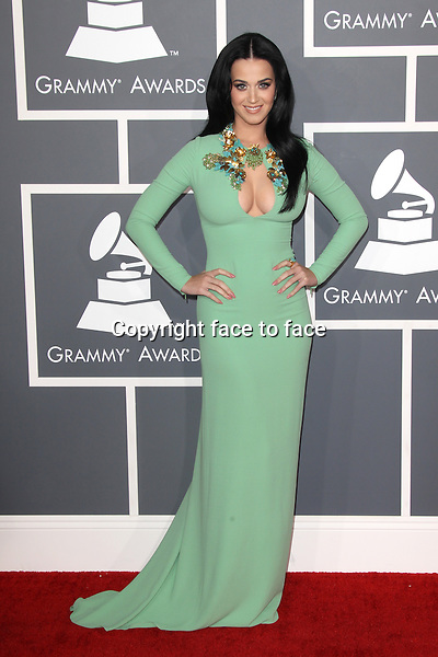 Katy Perry (in Gucci) at the 55th Annual GRAMMY Awards at Staples Center on February 10, 2013 in Los Angeles, California...Credit: MediaPunch/face to face..- Germany, Austria, Switzerland, Eastern Europe, Australia, UK, USA, Taiwan, Singapore, China, Malaysia and Thailand rights only -