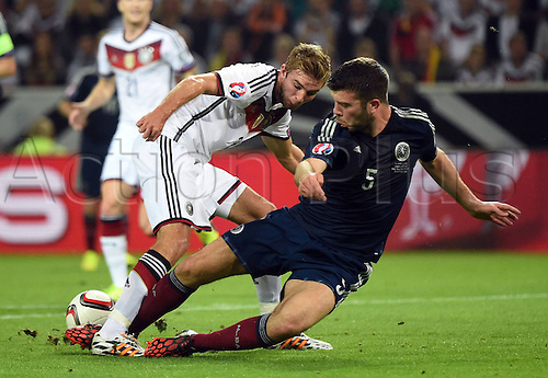 07.09.2014. Dortmund, Germany.   international match Germany Scotland  in Signal Iduna Park in Dortmund. Christoph Kramer German tackled by Grant Hanley Scotland