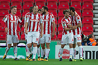 Joe Allen of Stoke City celebrates his goal during the Carabao Cup match between Stoke City and Rochdale at the Britannia Stadium, Stoke-on-Trent, England on 23 August 2017. Photo by James Williamson / PRiME Media Images.