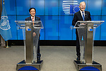BRUSSELS - BELGIUM - 16 December 2019 --  Agriculture and Fisheries Council meeting - Presidency of Finland. -- Jari Leppä (R), Minister of Agriculture and Forestry for Finland during the press conference with FAO Director-General Qu Dongyu. -- PHOTO: Juha ROININEN / EUP-IMAGES