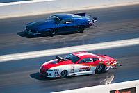 Nov 3, 2019; Las Vegas, NV, USA; NHRA pro mod driver Steve Jackson (near) alongside Scott Oksas during the Dodge Nationals at The Strip at Las Vegas Motor Speedway. Mandatory Credit: Mark J. Rebilas-USA TODAY Sports