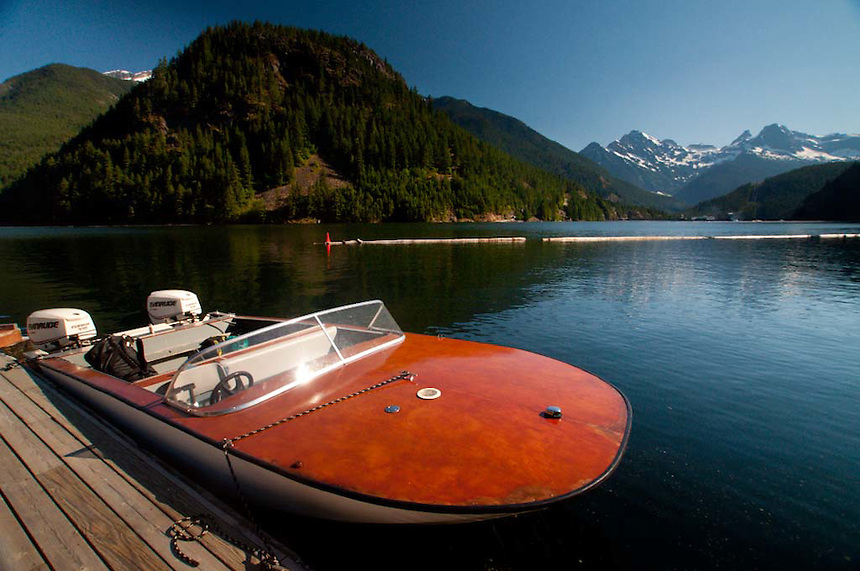 Powerboat at Ross Lake Resort, Ross Lake National Recreation Area, North Cascades National Park, Washington, US