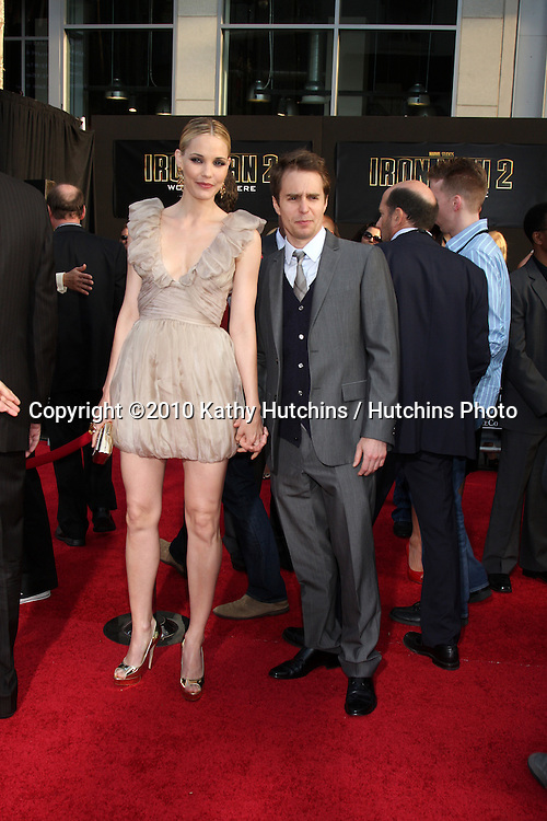"Leslie Bibb & Sam Rockwell.arrives at  the ""Iron Man 2"" Premiere.El Capitan Theater.Los Angeles, CA.April 26, 2010.©2010 Kathy Hutchins / Hutchins Photo..."