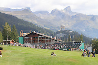 A view looking down the 18th on the 1st day of the Omega European Masters, Crans-Sur-Sierre, Crans Montana, Switzerland..Picture: Golffile/Fran Caffrey..