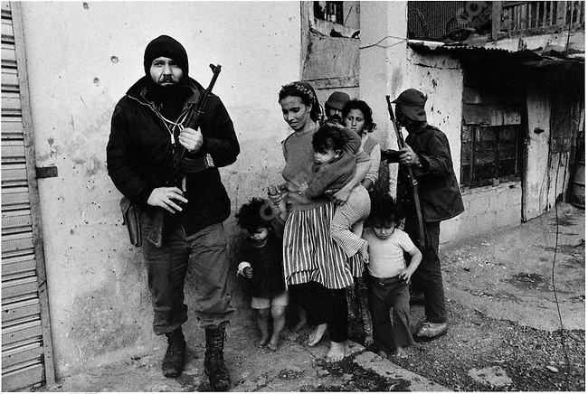Christian gunmen leading away Palestinian women and children before the men are killed, Karantina massacre, Beirut, Lebanon, January 18, 1976