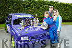 12 year old Mossie Costello won the U13 Rookie Category  in the John McGann Memorial Perpetual Shield for Hot Rod at Eastcork Hotrod, Midleton Co. Cork, last Sunday. Pictured  here with his Grandfather Maurice Mulvihill and Sister Megan Costello