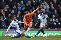 Blackpool's Oliver Turton competing with Bristol Rovers' Tareiq Holmes-Dennis and Abu Ogogo<br /> <br /> Photographer Andrew Kearns/CameraSport<br /> <br /> The EFL Sky Bet League Two - Bristol Rovers v Blackpool - Saturday 2nd March 2019 - Memorial Stadium - Bristol<br /> <br /> World Copyright © 2019 CameraSport. All rights reserved. 43 Linden Ave. Countesthorpe. Leicester. England. LE8 5PG - Tel: +44 (0) 116 277 4147 - admin@camerasport.com - www.camerasport.com