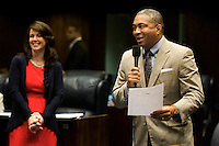 TALLAHASSEE, FLA. 5/3/13-SESSIONEND050313CH-In a light-hearted attempt to get the bill that would help pay for the renovation of the Miami Dolphins stadium renovated movie Sen. Christopher Smith, D-Fort Lauderdale, right, tries to add an amendment to the Senate transportation bill that would have made Drew Weatherford, the brother of the House Speaker and former Florida State University quarterback, a player for the Dolphins, during the final day of the legislative session May 3, 2013 at the Capitol in Tallahassee. Smith withdrew the amendment...COLIN HACKLEY PHOTO