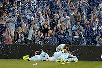 Sporting KC players celebrate late goal..Sporting Kansas City defeated D.C Utd 1-0 at Sporting Park, Kansas City, Kansas.