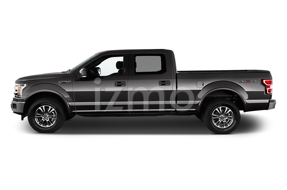 Car Driver side profile view of a 2018 Ford F-150 Lariat 4 Door Pick-up Side View