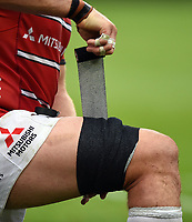 A general view of strapping being applied to a lineout forward. Gallagher Premiership match, between Bath Rugby and Gloucester Rugby on September 8, 2018 at the Recreation Ground in Bath, England. Photo by: Patrick Khachfe / Onside Images