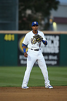 Erick Mejia (9) of the Rancho Cucamonga Quakes at shortstop during a game against the San Jose Giants at LoanMart Field on May 23, 2016 in Rancho Cucamonga, California. San Jose defeated Rancho Cucamonga, 4-2. (Larry Goren/Four Seam Images)