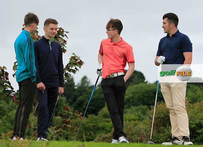 Eoin Griffin (Galway), Evan Henry (Ballyhaunis) and Ronan Cahill (Castlerea) on the 18th tee during R1 of the 2016 Connacht U18 Boys Open, played at Galway Golf Club, Galway, Galway, Ireland. 05/07/2016. <br /> Picture: Thos Caffrey | Golffile<br /> <br /> All photos usage must carry mandatory copyright credit   (&copy; Golffile | Thos Caffrey)