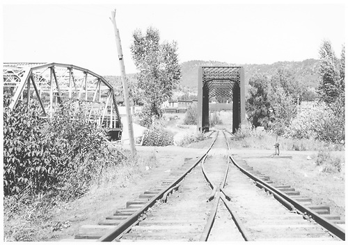 West-end view of the D&amp;RGW Animas River Bridge as seen from the coke ovens switch on the west bank.<br /> RGS  Durango, CO  Taken by Hilner, Ray C. - 8/19/1949