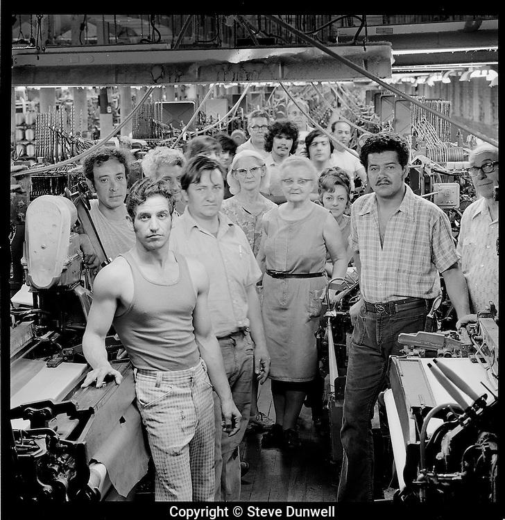 Weave room staff at Wannalancit mill, Lowell, MA 1975