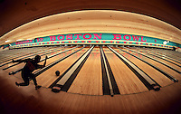 After midnight, a bowler bowls at Boston Bowl on Morrissey Boulevard in Dorchester.