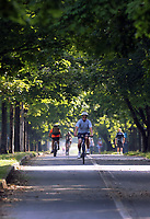 WEATHER PICTURE WALES<br /> Pictured: A cyclist rides along the Oystermouth Road path in Swansea Bay, Wales, UK. Wednesday 21 June 2017<br /> Re: A prolonged period of sunshine and high temperatures has caused one of the longest heatwaves in the UK.