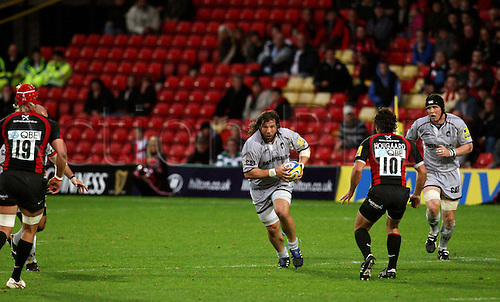 03.10.2010 Aviva Premiership Rugby Saracens v Leicester Tiger..Martin Castrogiovanni with the ball