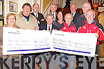 Cllr Donal Grady, pictured as he presented a total of €6,124 from his Mayors Ball fundraiser earlier this year to Kerry Life Education and Kerry Mountain Rescue Team. Pictured are Sheila Casey, Chris Barrow, Michael O'Donoghue, Cllr Donal Grady, Cllr Sean O'Grady, Mary Foley, Mick Long, Michael O'Leary, Cllr Cathal Walshe and Brendan Coffey.