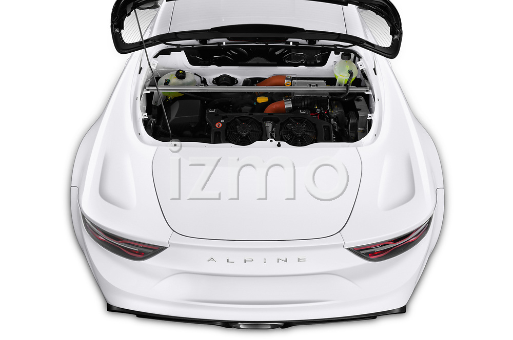 Car Stock 2019 Alpine A110 Pure 2 Door Coupe Engine  high angle detail view