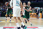 Real Madrid Gustavo Ayon and Jaycee Carroll and Panathinaikos Nick Calathes during Turkish Airlines Euroleague Quarter Finals 3rd match between Real Madrid and Panathinaikos at Wizink Center in Madrid, Spain. April 25, 2018. (ALTERPHOTOS/Borja B.Hojas)