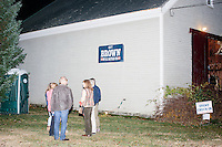 People gather after Republican presidential candidate and former Florida governor Jeb Bush spoke to a crowd in the barn of Dr. and Mrs. James Betti in Rye, New Hampshire, for former Massachusetts senator Scott Brown's No B.S. BBQ series.