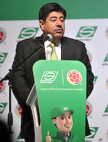BOGOTA - COLOMBIA - 10-03-2015: Luis Bedoya, Presidente de la Federacion Colombiana de Futbol (FCF), se dirige a los asistentes durante la firma de la alianza de Servientrega, como colaborador oficial de la Selección Colombia de Futbol, con la designación de Logistica Oficial. / Luis Bedoya, president of the Colombian Football Federation (FCF), speaks to the audience during the signing of the alliance of Servientrega, collaborador of Colombia Soccer team with the appointment of Official Logistics. / Photo: VizzorImage / Luis Ramirez / Staff.