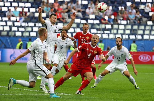 17th June 2017, St Petersburg, Russia;  FIFA 2017 Confederations Cup football, Russia versus New Zealand;  Group A - Saint Petersburg Stadium, Russia's Denis Glushakov in action with New Zealand's Tommy Smith
