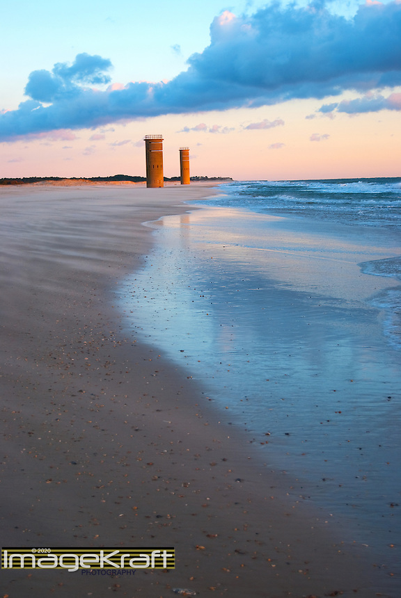 Cape Henlopen Beach and towers at daybreak
