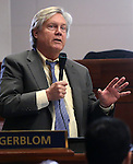 Nevada Sen. Tick Segerblom, D-Las Vegas, speaks on the Senate floor at the Legislative Building in Carson City, Nev., on Tuesday, April 16, 2013. Segerblom's bill to have lawmakers meet annually was approved Tuesday by the Senate. (AP Photo/Cathleen Allison)