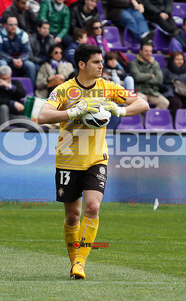 Osasuna´s goalkeeper Andres Fernandez during match of La Liga 2012/13. 31/03/2013. Victor Blanco/Alterphotos /NortePhoto