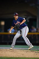 Danville Braves relief pitcher Zach Seipel (46) delivers a pitch during a game against the Johnson City Cardinals on July 28, 2018 at TVA Credit Union Ballpark in Johnson City, Tennessee.  Danville defeated Johnson City 7-4.  (Mike Janes/Four Seam Images)