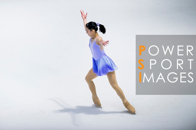 Hiu Lok chow competes during the Asian Junior Figure Skating Challenge 2015 on October 07, 2015 at the Festival Walk Mall in Hong Kong, China. Photo by Aitor Alcalde/ Power Sport Images
