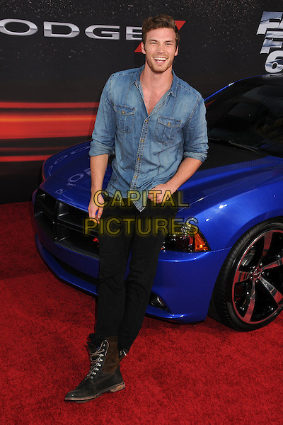 "Derek Theler.""Fast & Furious 6"" Los Angeles Premiere held at the Universal Gibson Amphitheatre, Universal City, California, USA..May 21st, 2013.full length jeans black boots blue shirt jean denim  .CAP/ADM/BP.©Byron Purvis/AdMedia/Capital Pictures"