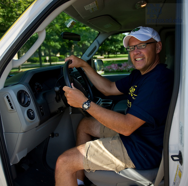 University of Notre Dame College of Science dean Greg Crawford sits in a support van that will follow Dean Crawford and his wife Renate as they bike from Tucson, AZ to Notre Dame in July and August of 2010 to raise awareness of Notre Dame's new partnership with the Ara Parseghian Medical Research Foundation...Photo by Matt Cashore/University of Notre Dame