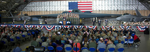 United States President Donald J. Trump delivers remarks to military personnel and families in a hanger at Joint Base Andrews in Maryland on Friday, September 15, 2017.  He visited JBA to commemorate the 70th anniversary of the US Air Force.  In the background behind the group, from left is a F-35 Joint Strike Fighter, a B-2 Stealth Bomber and a F-22 fighter.<br /> Credit: Ron Sachs / CNP