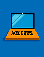 Welcome mat on laptop
