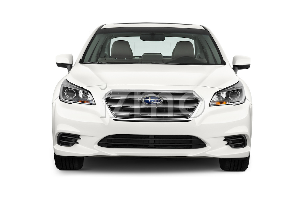 Car photography straight front view of a 2015 Subaru Legacy 2.5I Premium 4 Door Sedan 2WD Front View