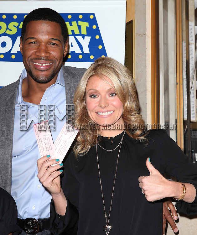 Michael Strahan & Kelly Ripa attending the Kids' Night on Broadway ticket launch with National Ambassadors Kelly Ripa & Michael Strahan at the August Wilson Theatre in New York City on 1/9/2013