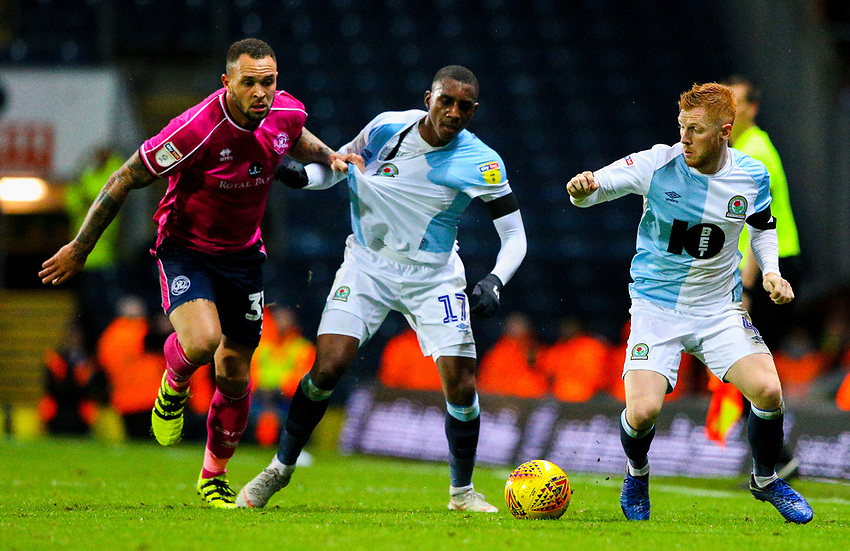 Blackburn Rovers' Harrison Reed steals the ball as Amari'i Bell battles with Queens Park Rangers' Joel Lynch<br /> <br /> Photographer Alex Dodd/CameraSport<br /> <br /> The EFL Sky Bet Championship - Blackburn Rovers v Queens Park Rangers - Saturday 3rd November 2018 - Ewood Park - Blackburn<br /> <br /> World Copyright © 2018 CameraSport. All rights reserved. 43 Linden Ave. Countesthorpe. Leicester. England. LE8 5PG - Tel: +44 (0) 116 277 4147 - admin@camerasport.com - www.camerasport.com