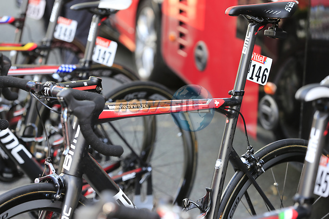 BMC Racing Team bikes lined up at the team bus in Cambridge before the start of Stage 3 of the 2014 Tour de France running 155km from Cambridge to London. 7th July 2014.<br /> Picture: Eoin Clarke www.newsfile.ie
