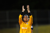 Sky Blue FC goalkeeper Brittany Cameron (1) salutes the fans after the match. Sky Blue FC defeated the Boston Breakers 5-1 during a National Women's Soccer League (NWSL) match at Yurcak Field in Piscataway, NJ, on June 1, 2013.