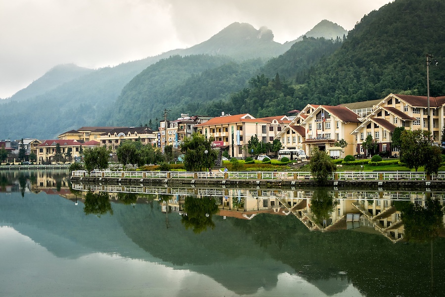 SAPA, VIETNAM - CIRCA SEPTEMBER 2014:  Sapa Lake and surrounding architecture, North Vietnam.