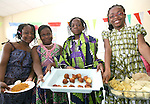 Aston Village Students, Alomide, Precious, Yele and Fiona with Nigerian Food at their International Food Day in connection with Louth Leader Partnership...Photo NEWSFILE/Jenny Matthews.(Photo credit should read Jenny Matthews/NEWSFILE)....This Picture has been sent you under the condtions enclosed by:.Newsfile Ltd..The Studio,.Millmount Abbey,.Drogheda,.Co Meath..Ireland..Tel: +353(0)41-9871240.Fax: +353(0)41-9871260.GSM: +353(0)86-2500958.email: pictures@newsfile.ie.www.newsfile.ie.FTP: 193.120.102.198.