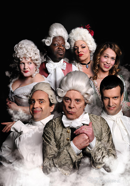 School for Scandal. The Comedians Theatre Company, Pleasance Theatre. Clockwise from top right: Ella Kenion, Stephen K Amos, Miss Behave, CLare Thomson, Marcus Brigstock, Lionel Blair and Phil Nichol